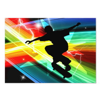 Skateboarder in Criss Cross Lightning Card