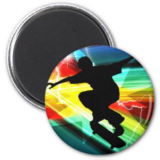 Skateboarder in Criss Cross Lightning Refrigerator Magnets