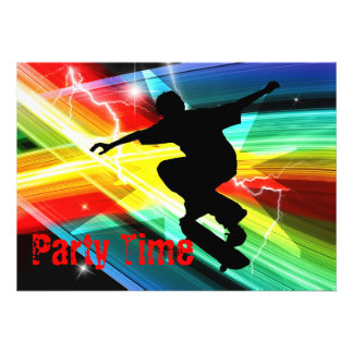 Skateboarder in Criss Cross Lightning Party Announcements