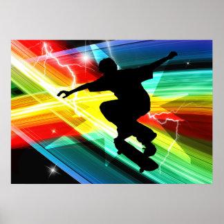 Skateboarder in Criss Cross Lightning Posters