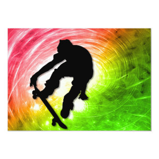 Skateboarder in Psychedelic Cyclone Rectangle Card