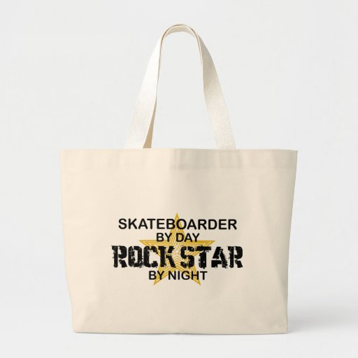 Skateboarder Rock Star by Night Tote Bags