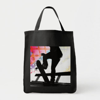 Skateboarder Silhouette Grocery Tote Bag