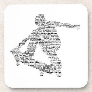Skateboarder word collage coaster set