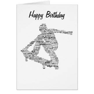 Skateboarder word collage greeting card