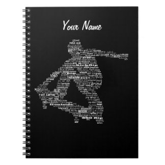 Skateboarder word collage notebook