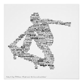 Skateboarder word collage posters
