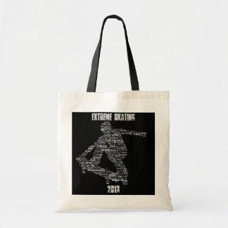 Skateboarder word collage budget tote bag