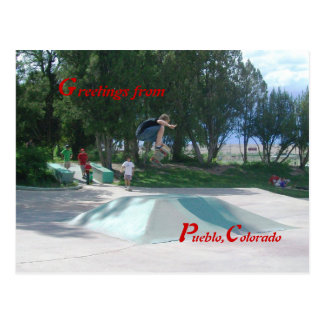Skateboarders City Park Pueblo, Colorado Postcard