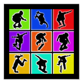 Skateboarders Pop Art Poster