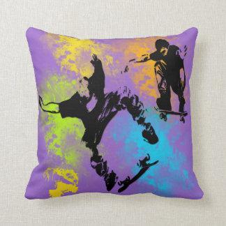 Skateboarders Throw Pillow Cushion