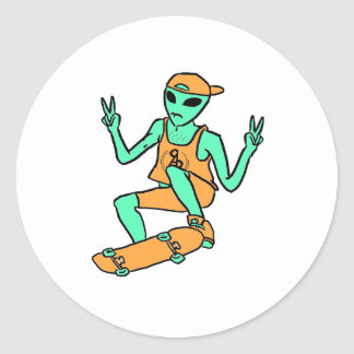 Skateboarding Alien Sticker