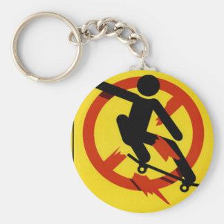 Skateboarding Basic Round Button Key Ring