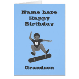 Skateboarding Boy, Grandson Birthday add name age Card