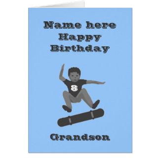 Skateboarding Boy, Grandson Birthday add name age Card