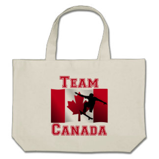 Skateboarding Canadian Flag Team Canada Tote Bags
