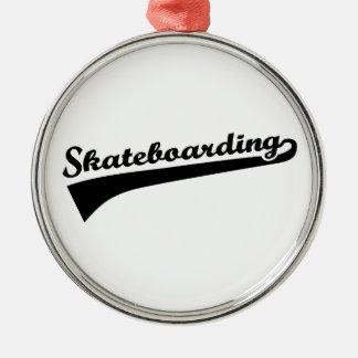 Skateboarding Silver-Colored Round Ornament