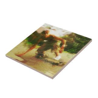 Skateboarding Down Low Ceramic Tile