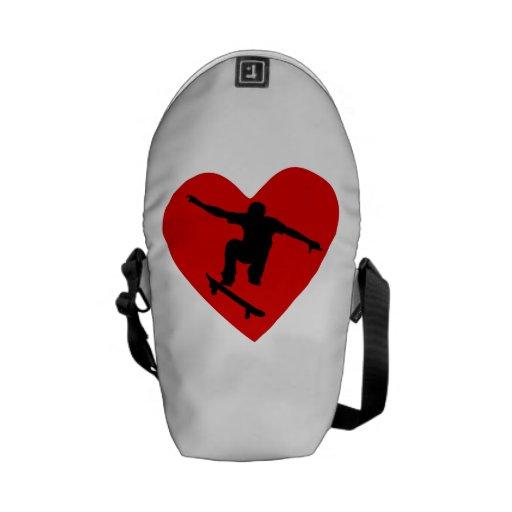 Skateboarding Heart Messenger Bags
