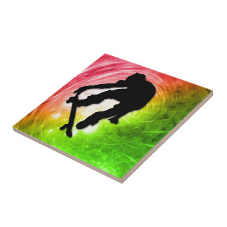 Skateboarding in a Psychedelic Cyclone Tiles