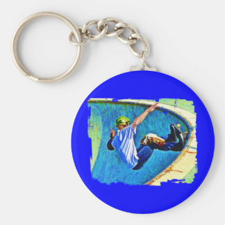 Skateboarding in the Bowl Basic Round Button Key Ring