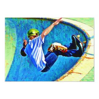 """Skateboarding in the Bowl 5"""" X 7"""" Invitation Card"""