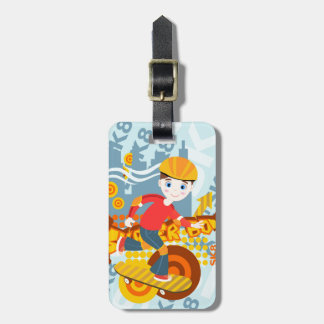 Skateboarding kid party luggage tag