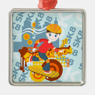 Skateboarding kid party Silver-Colored square decoration