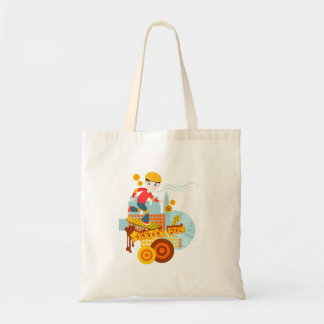 Skateboarding kid party budget tote bag