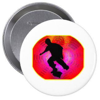 Skateboarding on Fluorescent Starburst Pinback Buttons