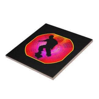 Skateboarding on Fluorescent Starburst Tile