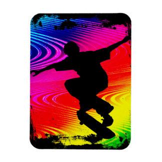 Skateboarding on Rainbow Grunge Background Rectangle Magnet