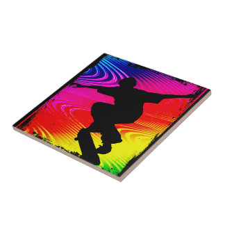Skateboarding on Rainbow Grunge Background Ceramic Tiles