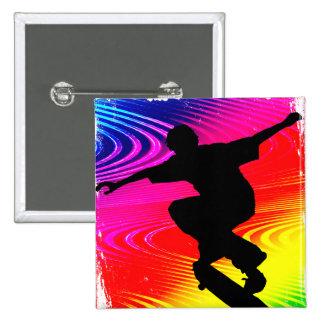 Skateboarding on Rainbow Grunge Buttons