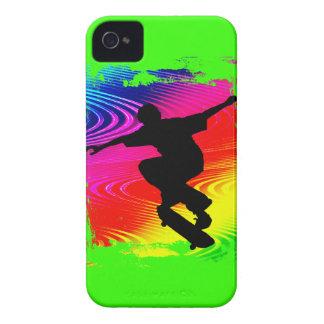 Skateboarding on Rainbow Grunge iPhone 4 Cover