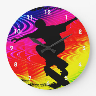 Skateboarding on Rainbow Grunge Large Clock