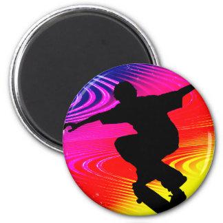 Skateboarding on Rainbow Grunge Fridge Magnet