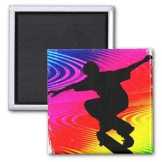 Skateboarding on Rainbow Grunge Magnet