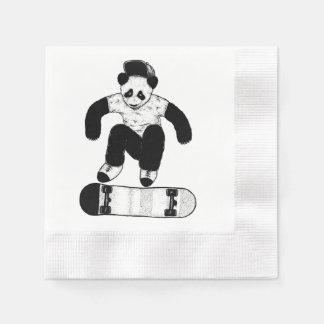 Skateboarding Panda Disposable Napkins