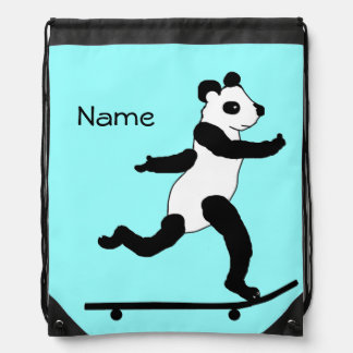 Skateboarding Panda drawstring backpacks