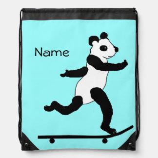 Skateboarding Panda drawstring backpacks