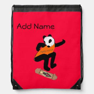 Skateboarding Panda Heel Flipping Drawstring Bag