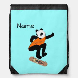 Skateboarding Panda Heel Flipping Drawstring Bags