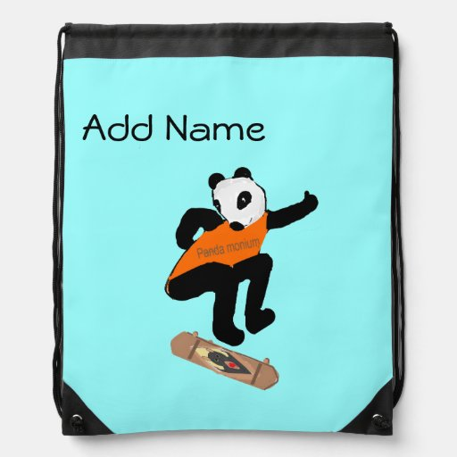 Skateboarding Panda Heel Flipping Cinch Bag