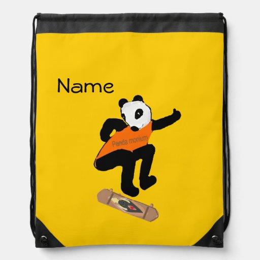 Skateboarding Panda Heel Flipping Drawstring Backpack