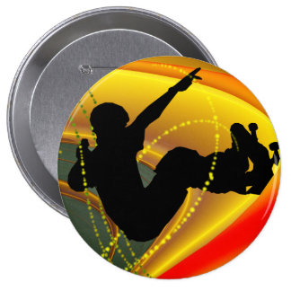 Skateboarding Silhouette in the Bowl Pinback Buttons