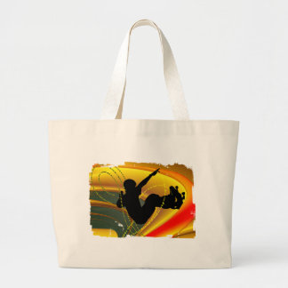 Skateboarding Silhouette in the Bowl Canvas Bags