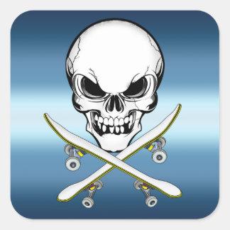 Skateboarding sticker with skull blue white