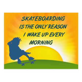 Skateboarding Wake Up Postcard