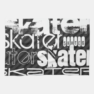 Skater; Black & Dark Gray Stripes Tea Towel